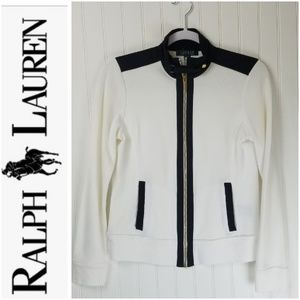 LAUREN RALPH LAUREN Gold Zip Up White Sweater